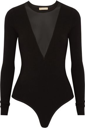 MICHAEL KORS COLLECTION Mesh-paneled stretch-jersey bodysuit