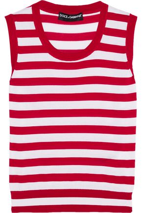 DOLCE & GABBANA Striped cashmere and silk-blend tank