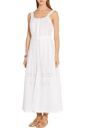 LOVESHACKFANCY Eve lace-trimmed cotton-poplin dress