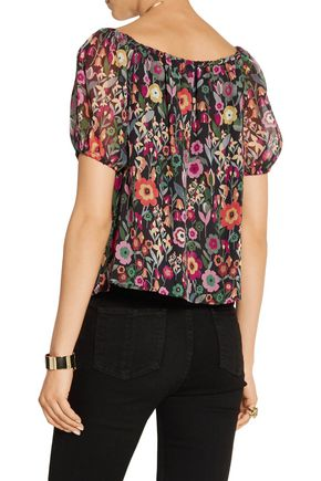 REDValentino Off-the-shoulder printed crinkled silk-chiffon top