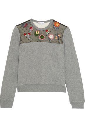 REDValentino Embroidered point d'esprit-paneled jersey sweatshirt