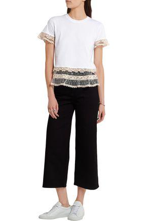 REDValentino Macramé lace-trimmed cotton-jersey T-shirt