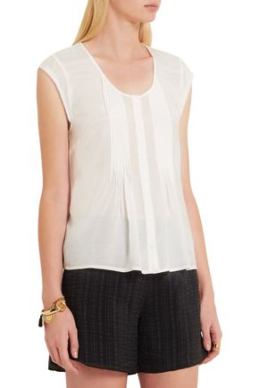 FRAME Le Victorian pintucked voile top