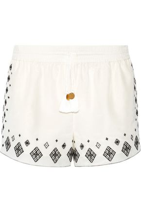 RACHEL ZOE Embroidered silk and cotton-blend shorts
