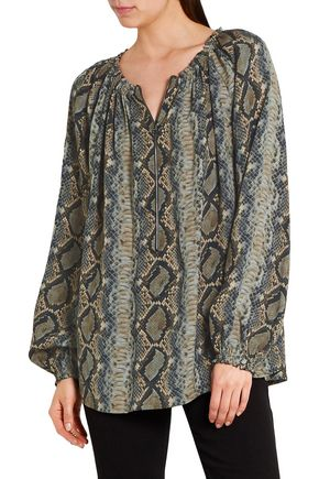 TOM FORD Snake-print silk-georgette blouse