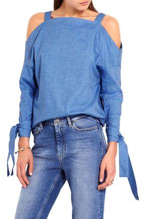 TIBI Cutout stretch-cotton chambray top