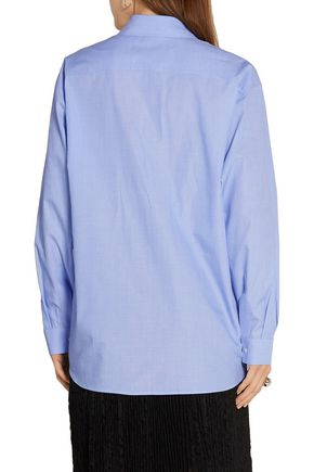 CEDRIC CHARLIER Oversized pintucked cotton-chambray shirt