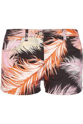 EMILIO PUCCI Feather-print cotton-blend shorts