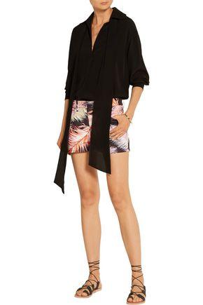 EMILIO PUCCI Feather-print cotton-blend shorts