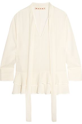 MARNI Pussy-bow ruffled crepe blouse