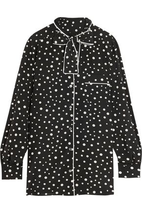 DOLCE & GABBANA Pussy-bow polka-dot stretch-silk crepe de chine blouse