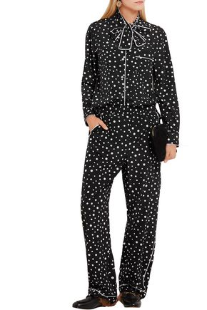DOLCE & GABBANA Pussy-bow polka-dot stretch-silk crepe de chine blouse