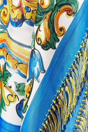 DOLCE & GABBANA Fringed printed silk-blend twill top