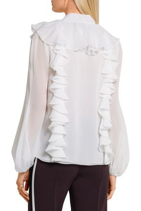 GIAMBATTISTA VALLI Ruffled silk-georgette blouse