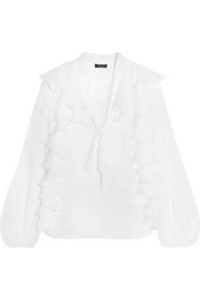 GIAMBATTISTA VALLI Ruffled silk-georgette blouse
