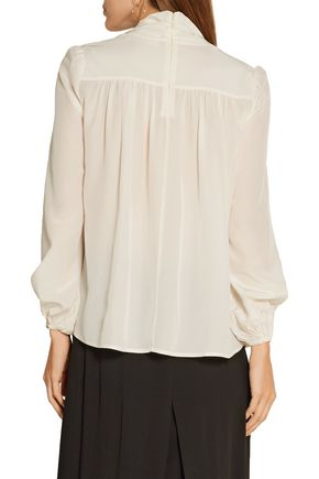 CO Pussy-bow silk crepe de chine blouse