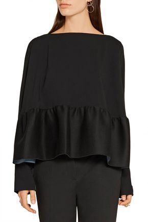 ANTONIO BERARDI Stretch-crepe and scuba-jersey peplum top