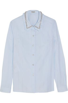 MIU MIU Embellished cotton-jacquard shirt