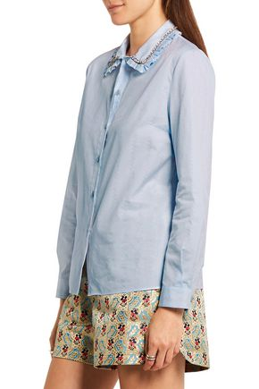MIU MIU Embellished cotton-jacquard shirt