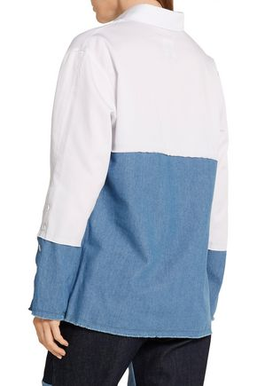 SJYP Paneled twill and denim top