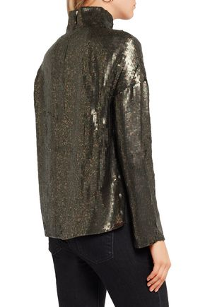 TIBI Sequined silk-chiffon top