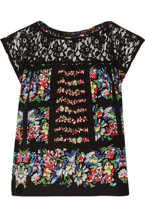 ANNA SUI Lace-paneled floral-print silk-voile top