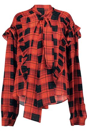 PREEN by THORNTON BREGAZZI Garrett ruffled checked silk pussy-bow blouse