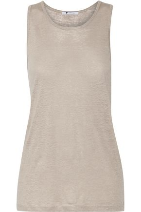 T by ALEXANDER WANG Linen and silk-blend tank