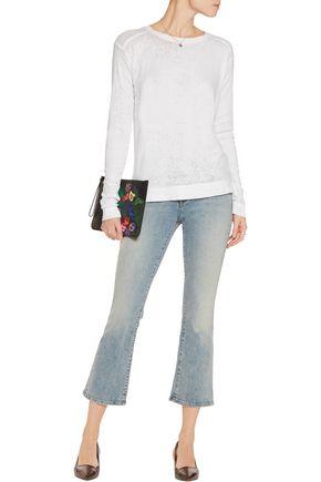 ALICE + OLIVIA Yuri wrap-effect burnout cotton-blend top