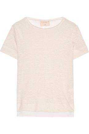 ALICE + OLIVIA Phillip pointelle-trimmed slub linen top