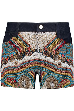 ALICE + OLIVIA Rumi embellished denim shorts
