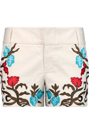 ALICE + OLIVIA Cady embroidered cotton-blend shorts