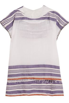 LEMLEM Safara striped cotton-blend gauze hooded top