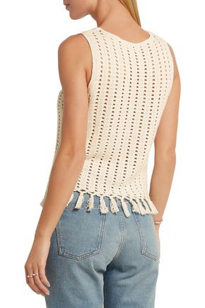 MADEWELL Fringed open-knit cotton-blend top