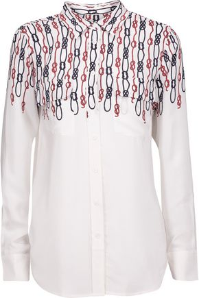 EQUIPMENT Slim Signature printed washed-silk shirt