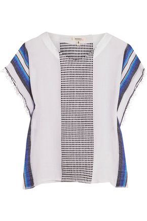 MASTER&MUSE x LEMLEM Lula embroidered striped cotton-blend gauze top
