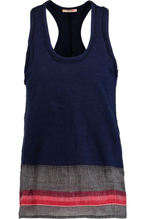 MASTER&MUSE x LEMLEM Rita slub cotton-jersey and striped gauze tank