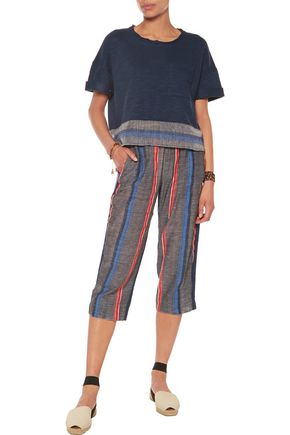 LEMLEM Rita striped gauze and slub cotton-jersey culottes