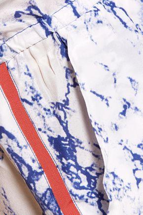LEMLEM Hana marble-effect silk playsuit