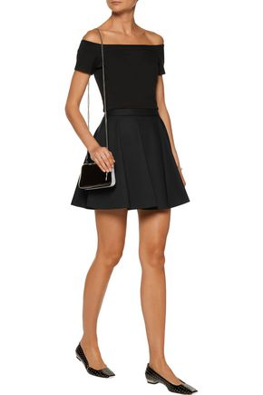 ALICE + OLIVIA Gracelyn cropped off-the-shoulder stretch-cady top