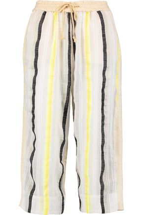 MASTER&MUSE x LEMLEM Rita striped gauze and slub cotton-jersey culottes