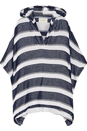 SOLID & STRIPED The Beach Cape striped cotton-blend terry hooded poncho