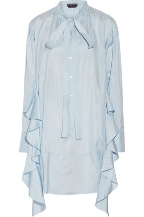 ROCHAS Pussy-bow ruffled pinstriped silk top
