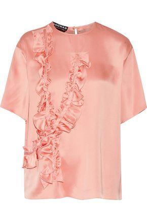 ROCHAS Ruffled silk-satin top