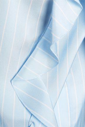 ROCHAS Ruffled pinstriped silk crepe de chine top