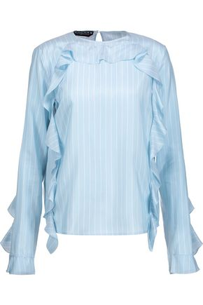 ROCHAS Ruffled pinstriped silk crepe de chine top