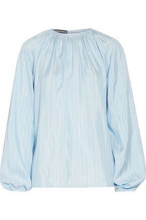 ROCHAS Striped silk crepe de chine top