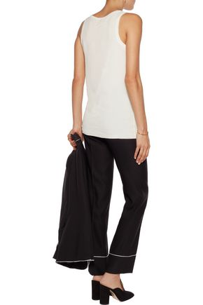JOSEPH Silk-georgette and cotton and Micro Modal-blend tank