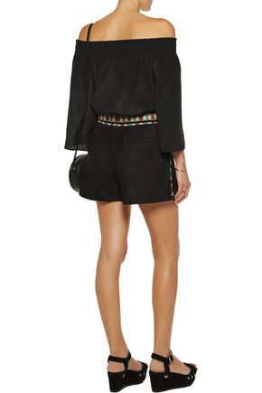 TALITHA Embroidered suede shorts