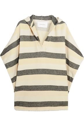 SOLID & STRIPED The Beach Cape striped basketweave cotton-blend poncho